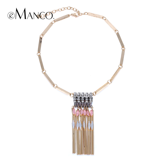 //Gold copper tube pendant necklace zinc alloy charms// rhinestone choker circle necklace elegant costume jewelry women eManco