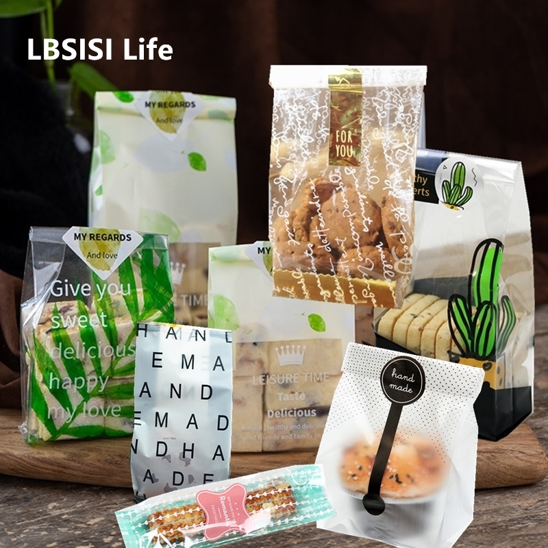 LBSISI Life 50pcs Wedding Candy Cookie Gift Bag Self Stand Holder Cupcake Biscuit Hand Made DIY Christmas Plastic Packaging Bags