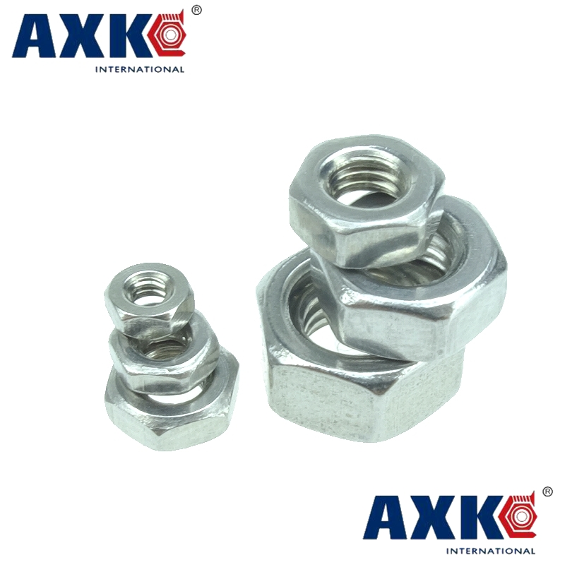 Stainless Steel 304 Metric thread DIN934 M1.6 M2 M2.5 M3 M4 M5 M6 M8 M10 M12 M14 M16 M18 M20 Hex Nuts 4pcs set hand tap hex shank hss screw spiral point thread metric plug drill bits m3 m4 m5 m6 hand tools
