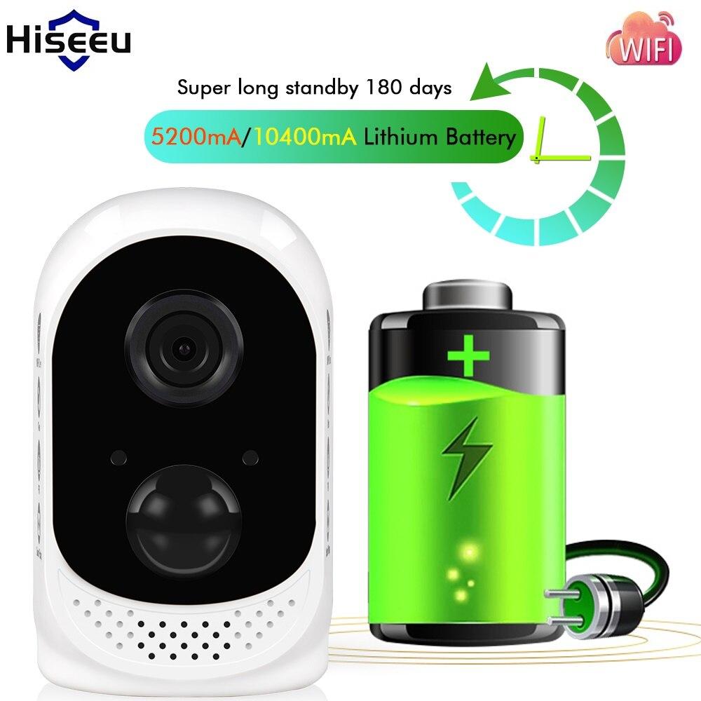 Hiseeu PIR 10400mA Rechargeable Batterie Puissance Extérieure Sans Fil IP Caméra Étanche CCTV Plein 1080 p Détection De Mouvement Microshare