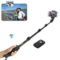 Extendable Self Selfie Stick Handheld Monopod Clip Holder Camera Shutter Remote Controller for iPhone Samsung Phone