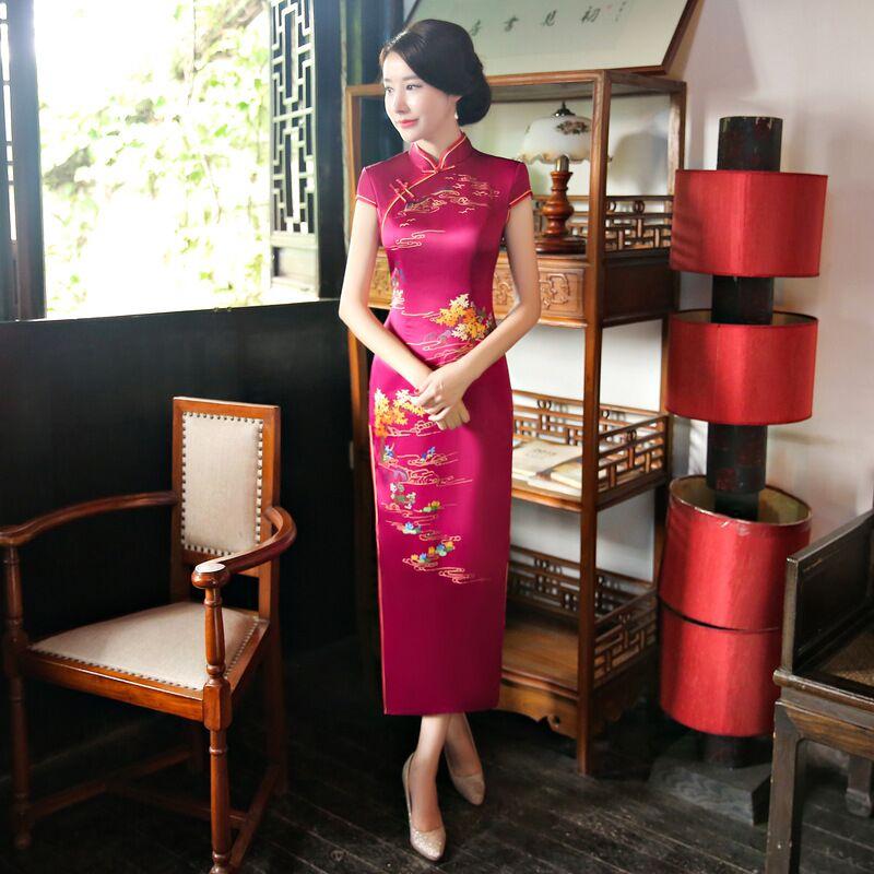 แฟชั่นผู้หญิงสไตล์จีนยาว Cheongsam ใหม่มาถึงเรยอนชุด Qipao Vestidos ขนาด S M L XL XXL XXXL 125750-ใน ชุดเดรส จาก เสื้อผ้าสตรี บน AliExpress - 11.11_สิบเอ็ด สิบเอ็ดวันคนโสด 1
