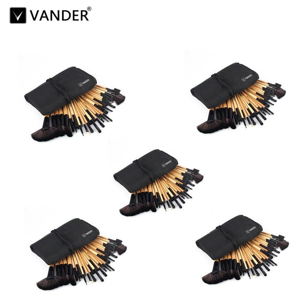 Vanderlife 5lots Brown 32pcs/set Make Up Brushes Tools Foundation Face&Eye Powder Blusher Pro Cosmetics Makeup Brush With Bag