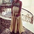 Champagne Vestidos de Noite Para As Mulheres Grávidas Fora Do Ombro Lantejoulas Vestidos De Noite De Maternidade Até O Chão À Noite Vestidos Longos