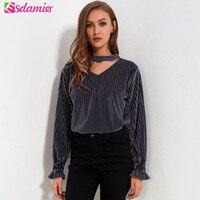 2018 Spring Vintage Ladies Velvet Blouse V Neck Choker Blouses Pullover Lantern Sleeve Loose Shirts Women