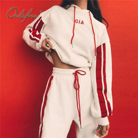 Ordifree 2018 Autumn 2 Piece Set Women Tracksuit Sportswear Casual White Red Sweat Pants Hooded Cropped