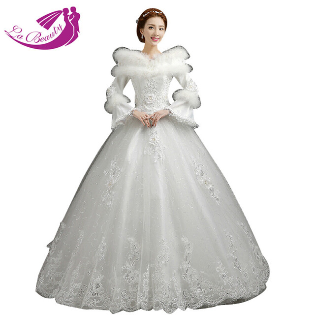 Winter Wedding Dress Sequin Lace Bridal Gown Faux Fur Collar Long Sleeve Ball Dresses