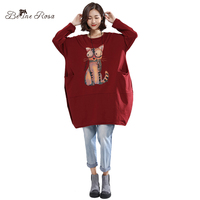 BelineRosa 2017 Women S Winter Hoodies Pure Cotton Kawaii Big Eye Cats Long Sleeve Loose Long