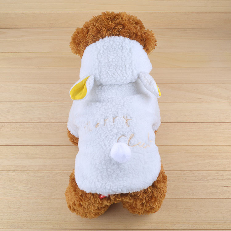 Fashion Pet Costume Samll Dog Clothes Coat White Sheep Puppy Hoodie Chihuahua Clothing In Winter Warm Apparel Size XS S M L XL 1166