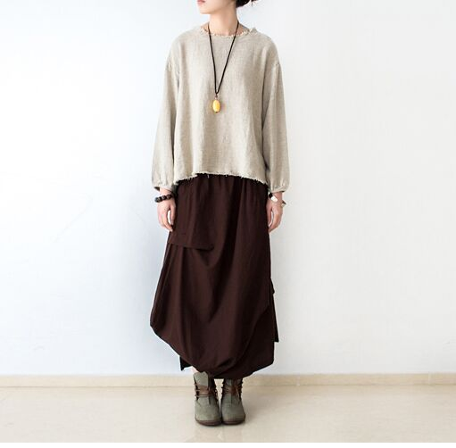 Saias Femininas әйелдерге арналған юбка плюс өлшемі зығырдан жасалған юбкалар, қапталған қалталар, кездейсоқ Maxi ұзын юбка әйелдер