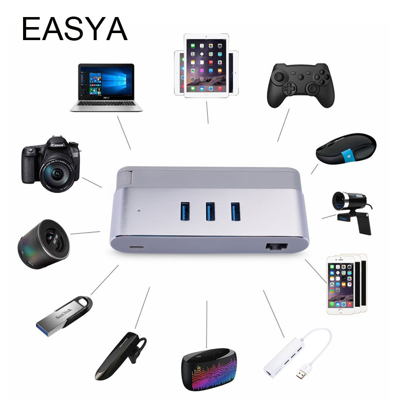 EASYA USB Type-C Hub To Ethernet RJ45 Adapter 1000Mbps Thunderbolt 3 USB C Hub 3.0 Network LAN Dock Dongle For Macbook Pro high quality usb 3 1 type c to rj45 ethernet lan adapter cable with 3 ports usb hub for pc notebook macbook support windows