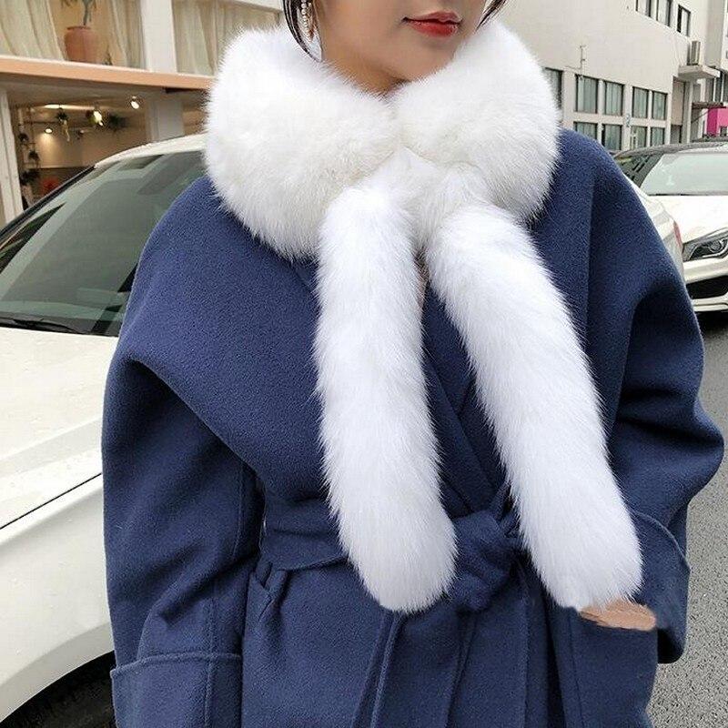 Glaforny 2019 filles nouvelle vente chaude fourrure de renard col écharpe naturel fourrure de renard écharpe véritable col de fourrure avec de longues queues pour l'hiver