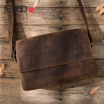 AETOO Men 's mad horse leather Messenger bag shoulder retro hand casual