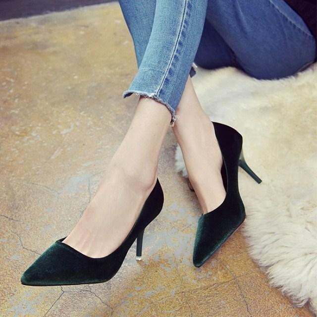 SLHJC 2018 Spring Autumn Velvet High-Heeled Shoes Pointed Toe Stiletto Thin Heels 6 CM Women Fashion Pumps Slip On