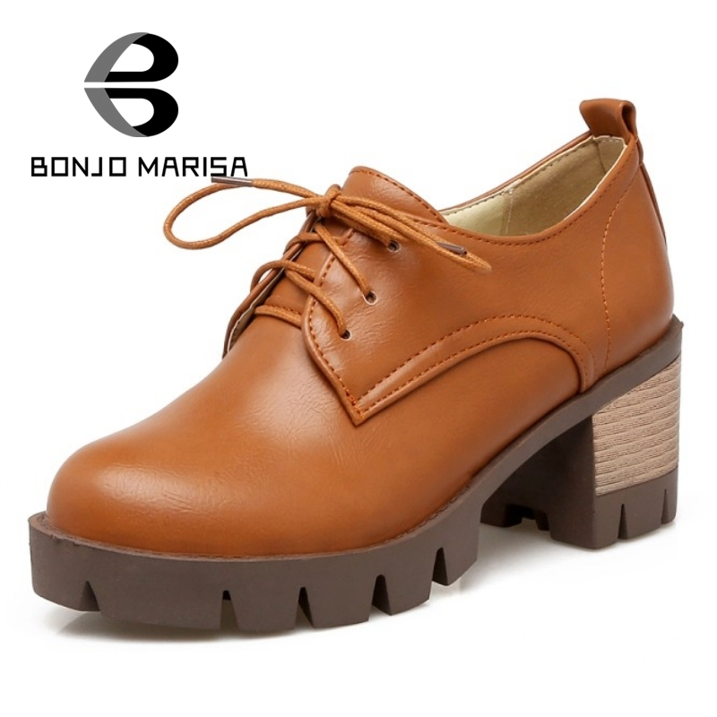 BONJOMARISA Big Size 34-43 Lace Up Thick High Heel Shoes Woman Fashion PU Leather Platform Pumps Women Ladies Casual Shoes