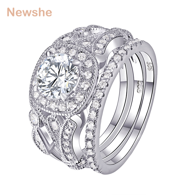 Newshe 3 Pcs Wedding Ring Sets Classic Jewelry 925 Sterling Silver