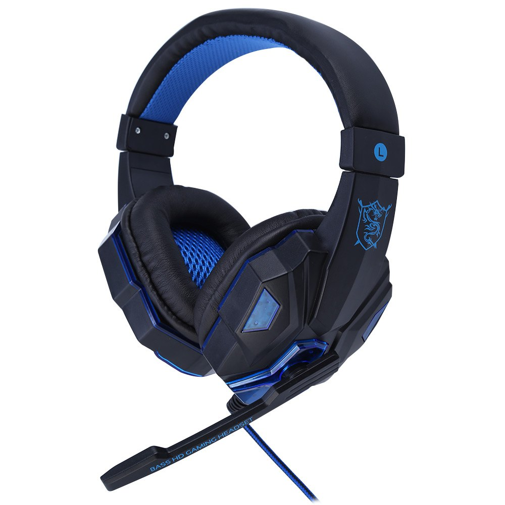 PC780 Stereo Gaming Headphone with Microphone Wired Headsets with LED Light Voice Control Noise Cancelling Headphone