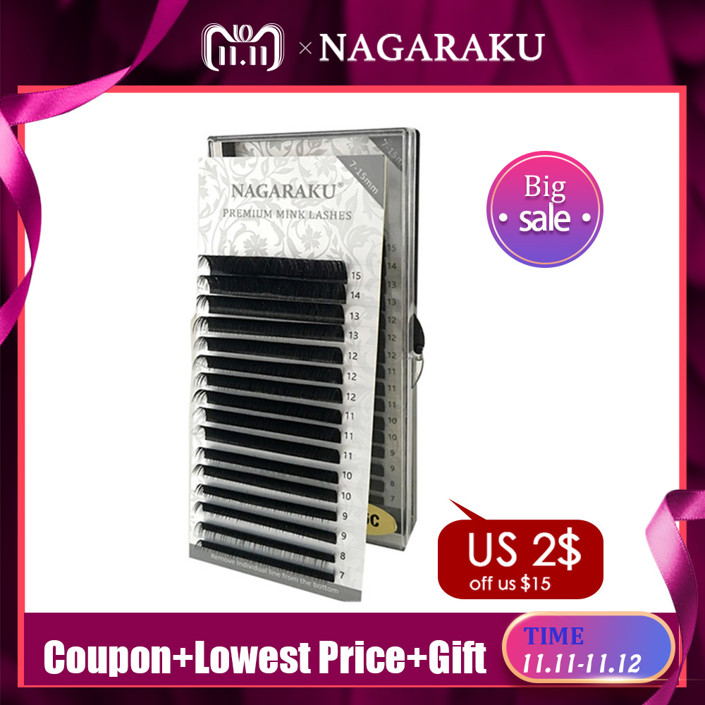 12ab1463e74 Hot@@ NAGARAKU 16rows/case 7~15mm mix premium natural synthetic mink  individual eyelash extension makeup maquiagem cilios -in False Eyelashes  from Beauty & ...