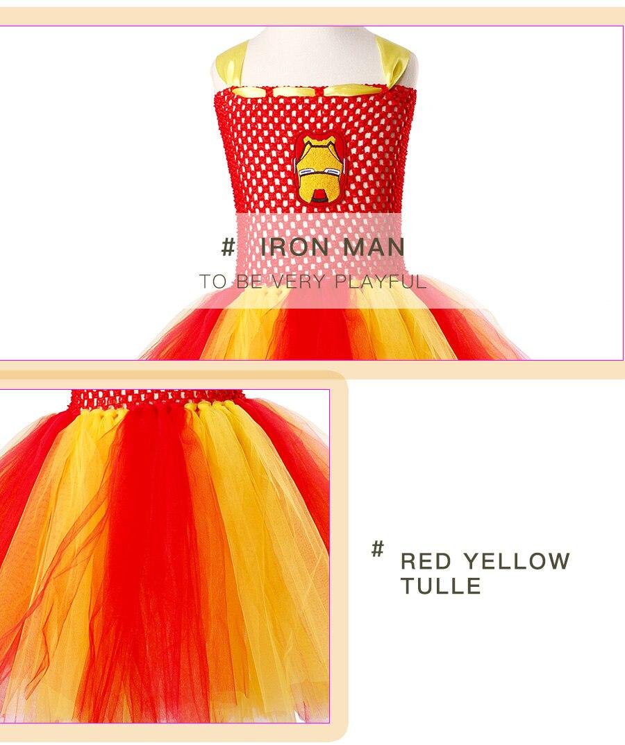 Iron Man Girls Tutu Dress Cartoon Baby Gril Halloween Cosplay Party Dress Handmade Fancy Superhero Inspired (3)