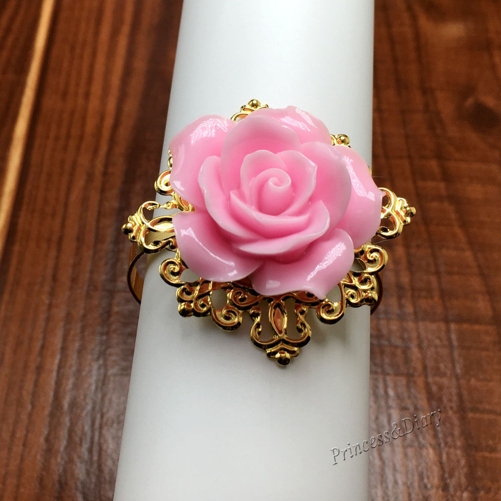 100 Pieces Pink Rose Flower Decor Gold Napkin Ring Holder Hoops ...