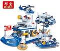 Kit de construcción modelo compatible con lego coche de policía barco patrulla agua 3d modelo de construcción de juguete bloque educativo hobbie para niños
