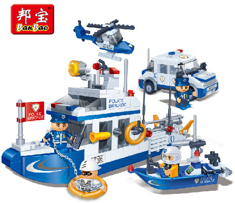 Model building kit compatible with lego police car boat water patrol 3D block Educational model building