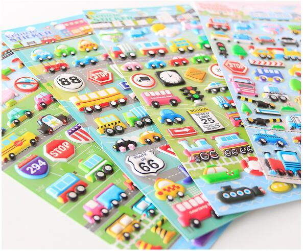 4 pcs Pvc High Quality Stickers Mixed Car Bubble Stickers Transport Cars Children Kids Girls Boys Cartoon Stickers Decoration