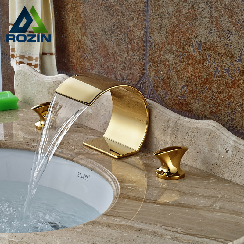 Modern Waterfall Dual Handles Bathroom Basin Faucet Deck Mount Brass Golden Basin Sink Mixer Taps 2way2position ac110v 3 4 electric solenoid valve water air n c gas water air