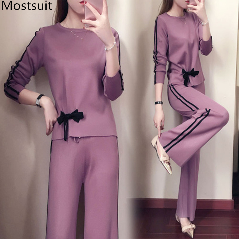 Knitted Two Piece Set Women Long Sleeve Bow Tops Sweater+Wide Leg Trousers Pants Sets Suits Casual Office Female Women's Costume