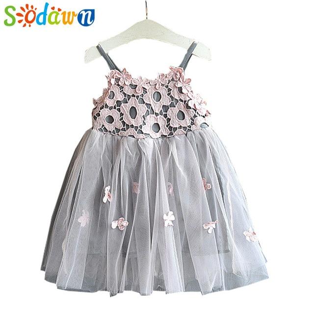 Sodawn 2018 New Children Clothing Fashion Girls Dress Lace Fluffy Pop Princess Dresses Baby Girls Clothing Summer New Kids Dress
