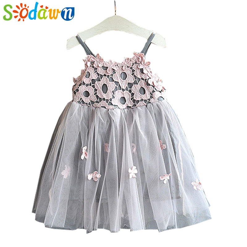 Sodawn 2018 New Children Clothing Fashion Girls Dress Lace Fluffy Pop Princess Dresses Baby Girls Clothing Summer New Kids Dress