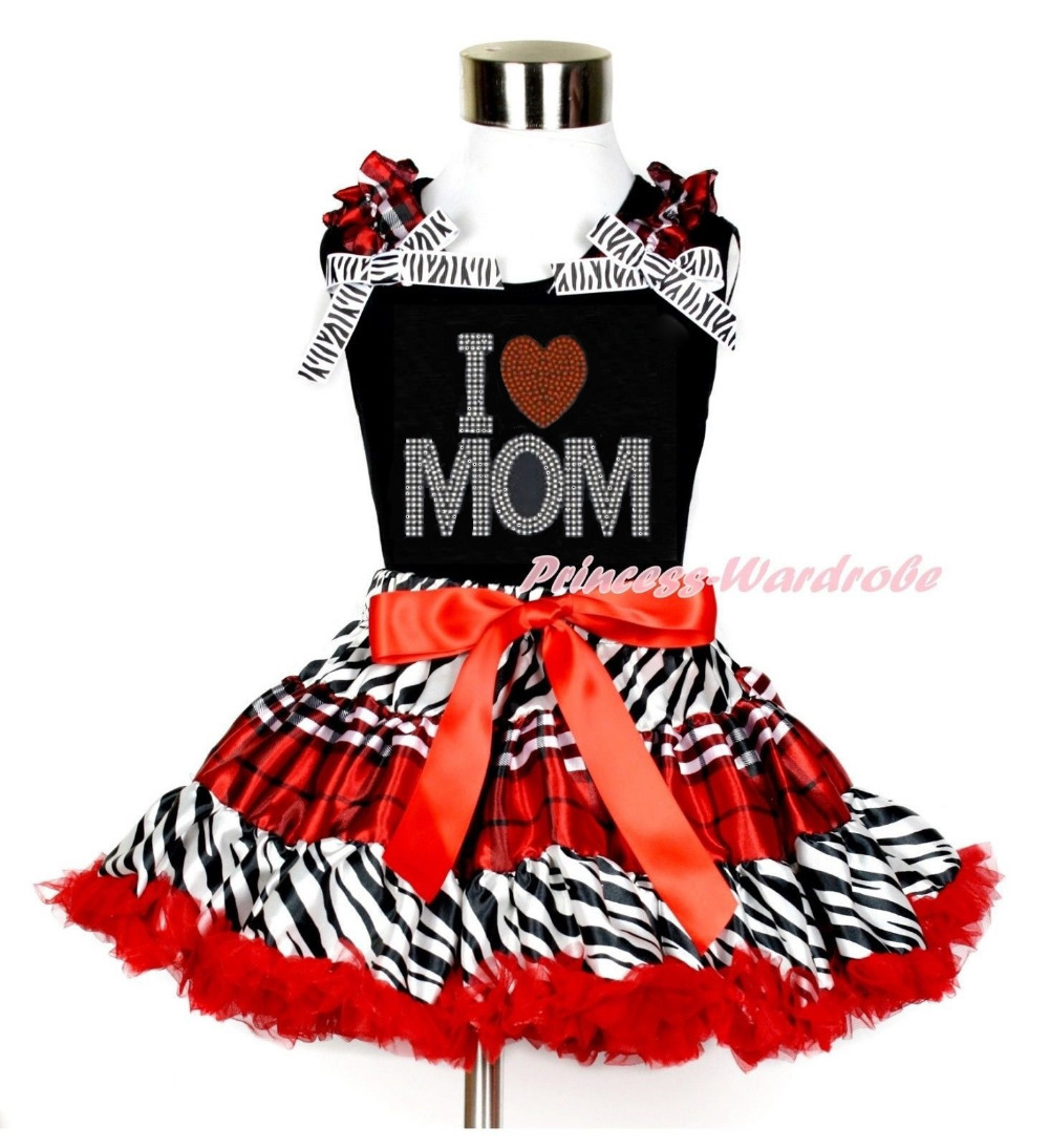 Mommy's day Rhinestone Love Mother's Day Heart Black Top Black Red Plaid Zebra Skirt 1-8Year MAMG1120 i love you love heart shaped keychain red