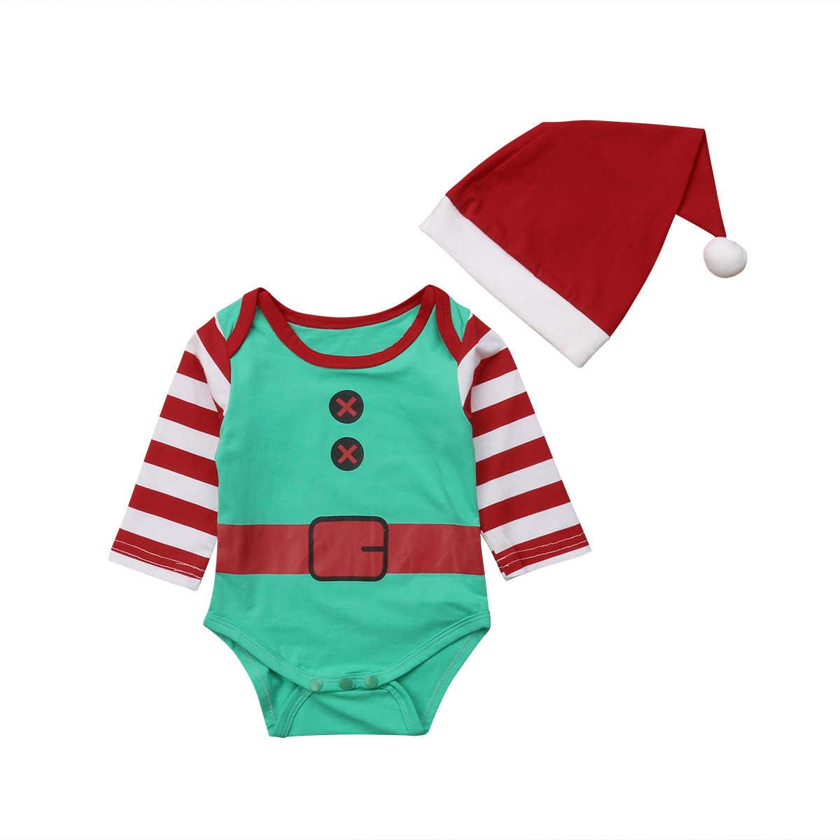 Рождественские боди для маленьких мальчиков и девочек с Санта-Клаусом, комбинезон в полоску для малышей + шапки, комплект из 2 предметов, милый костюм для младенцев, одежда