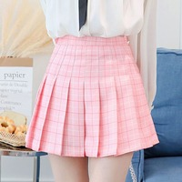 e28f6601b6 High Waist plaid pleated skirt Harajuku Lolita Style A-line mini sailor  skirt Sweet girls Japanese school uniform skirts