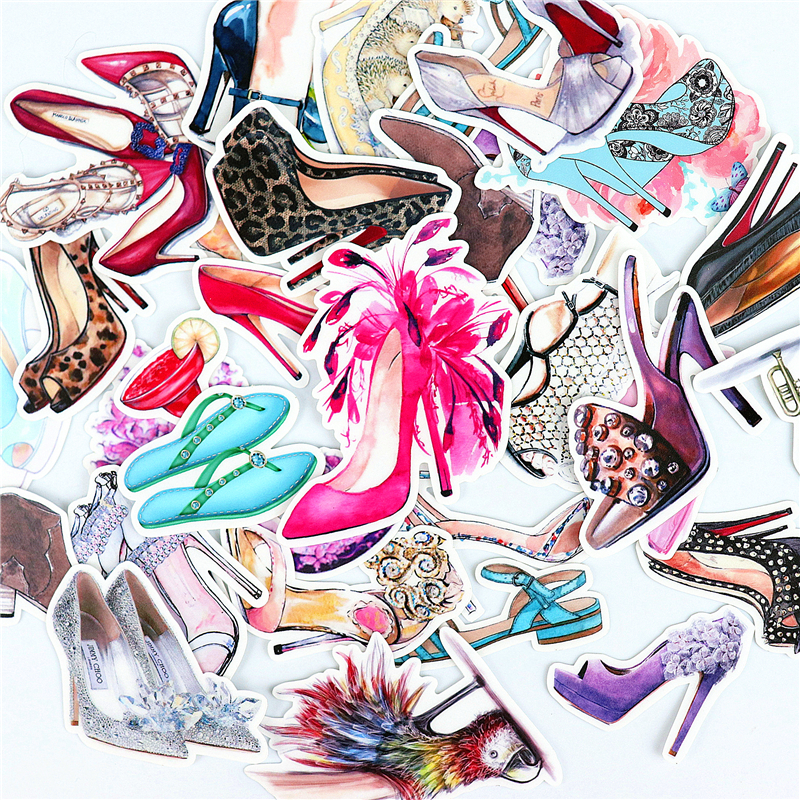 28pcs Cute Luxury Shoes Stickers  Waterproof Sticker For Luggage Car Guaitar Skateboard Phone Laptop Bicycle Stickers