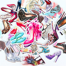 28pcs cute Luxury shoes stickers Waterproof Sticker For Luggage Car Guaitar Skateboard Phone Laptop Bicycle Stickers(China)