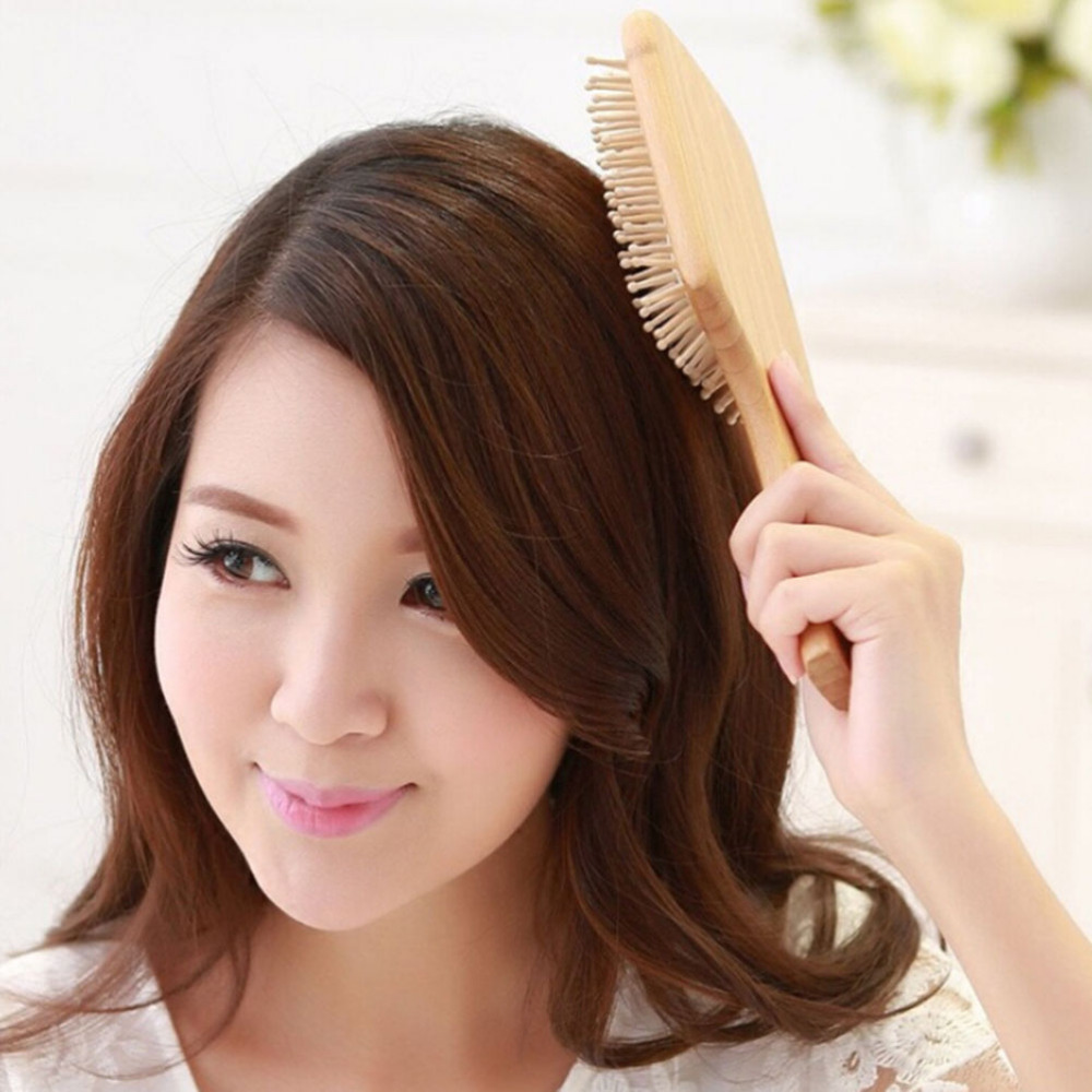 1PCS Hair Brush Women Hair Care Wooden Spa Massage Comb Wooden Paddle Pointed Handle Teeth Hair Brush Anti Static Cushion Comb