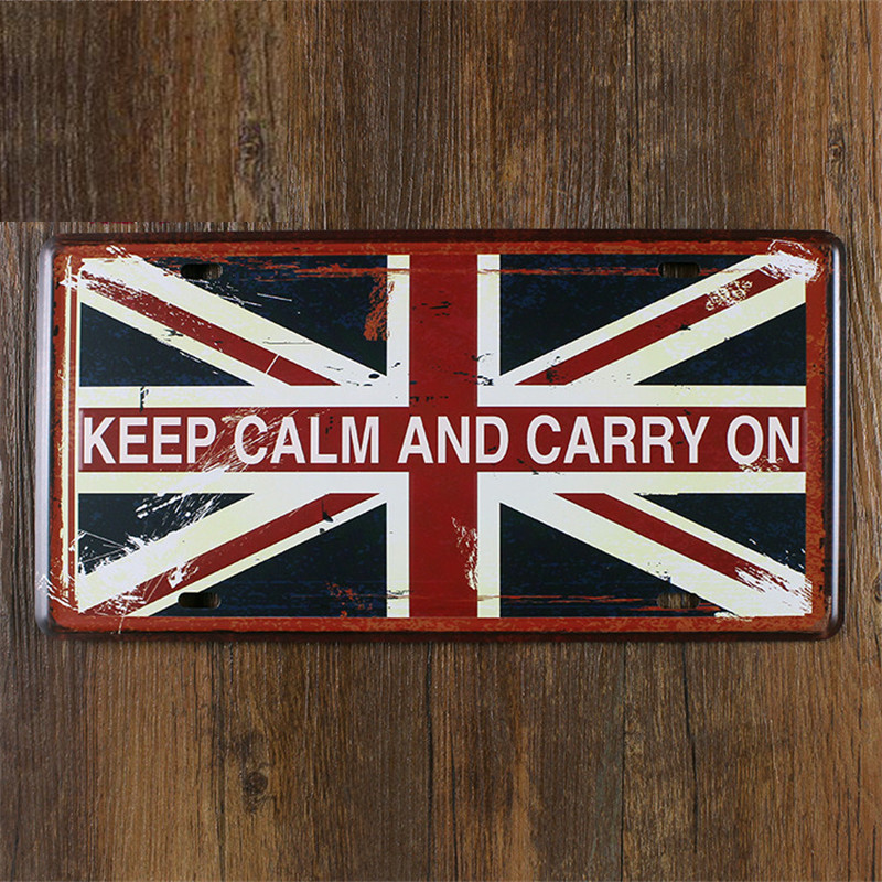 SP-CP-0194 Car License Plates number keep calm and carry On  Retro Vintage Metal tin signs Wall art craft painting 15x30cm