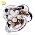 Hutang Natural Freshwater Pearl Solid 925 Sterling Silver Floral Ring Fine Jewelry Ladies Women Gift