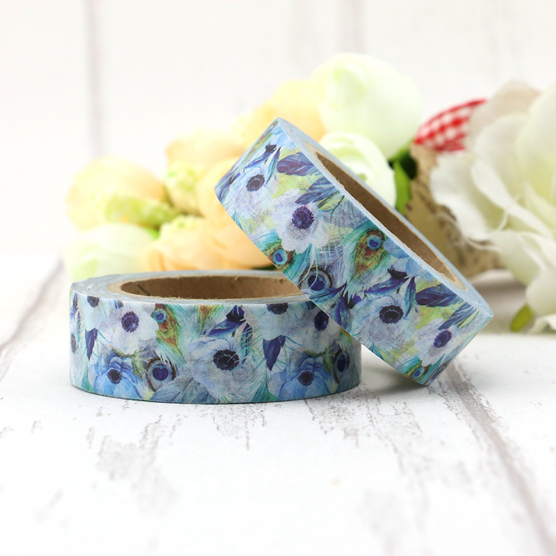 2017 1X 10m Washi Tape Paper Peacock Feather Japanese Stationery Kawaii Stickers Scrapbooking Tools Masking Tape Diy Photo Album 1pcs 15mm 10m kawaii scrapbooking tools diy solid color white black paper washi tapes masking tape photographic tape 02492