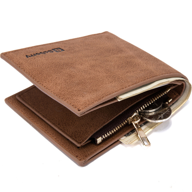 Vintage Leather Hasp Small Wallet Zipper Wallets Coin Pocket Purse Card Holder Men Wallets Money Cartera Hombre Bag Male Clutch