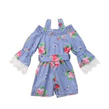 купить Baby Girls Jumpsuit, Girls Long Sleeves Sling Bowknot Striped Flower Print Overall Jumpsuit Toddler Pants Outfits дешево