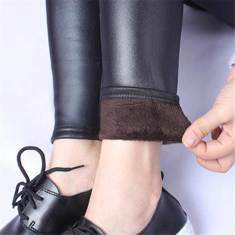 Yeni 2019 kalınlaşma siyah deri çizme tozluk dar pantolon kış sıcak kadın pantolon kış pantolonları kadınlar için yüksek kalite