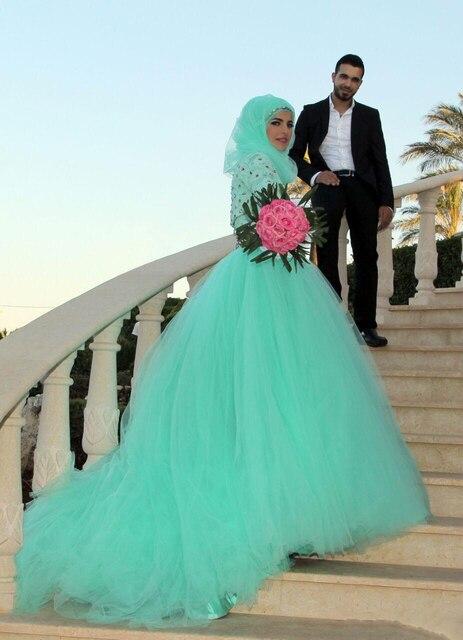 New Elegant Green Lace Princess Wedding Dresses 2017 High neck A ...