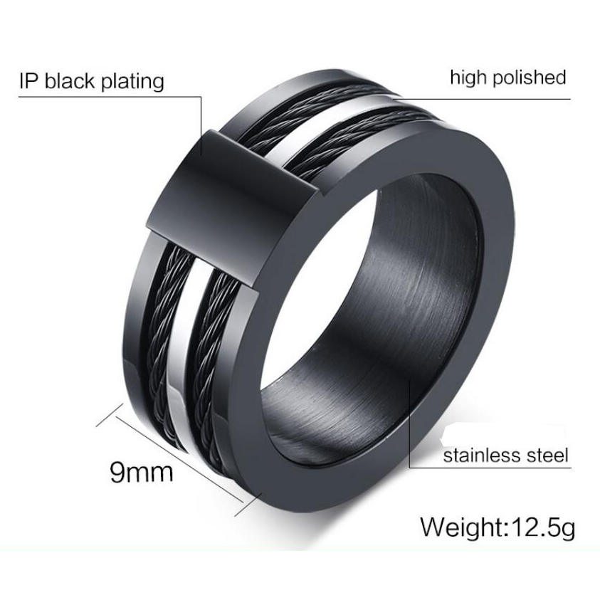 Black Male Unique Ring Wedding Band Tungsten Carbide Ring 12.5mm Man Anniversary Jewelry Size 9# 10# 11# 12# 3