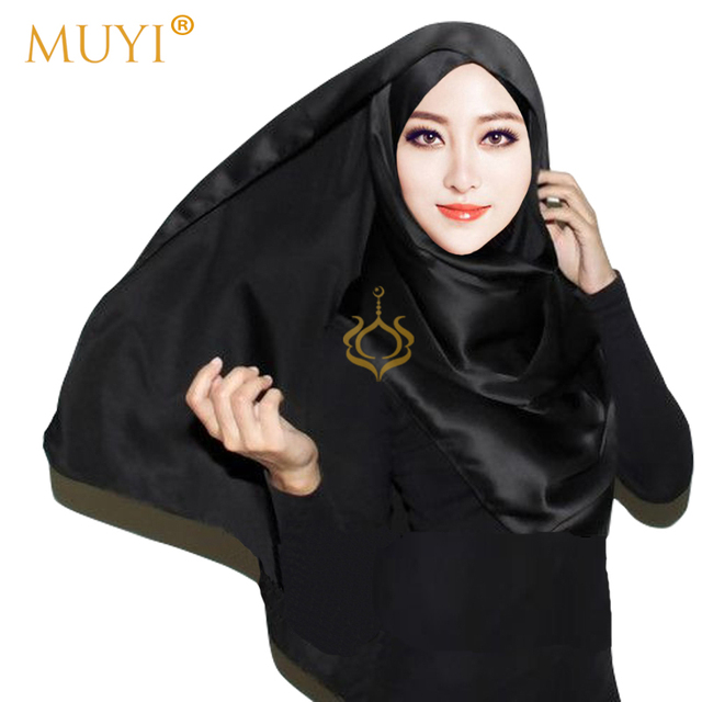 Muslim Women Hijabs Plain Satin Luxury Scarf Foulard Femme Black Headscarf  Arab Islamic Shawl Fashion HijabTurban Veil New 2017 c660d1c7f3b
