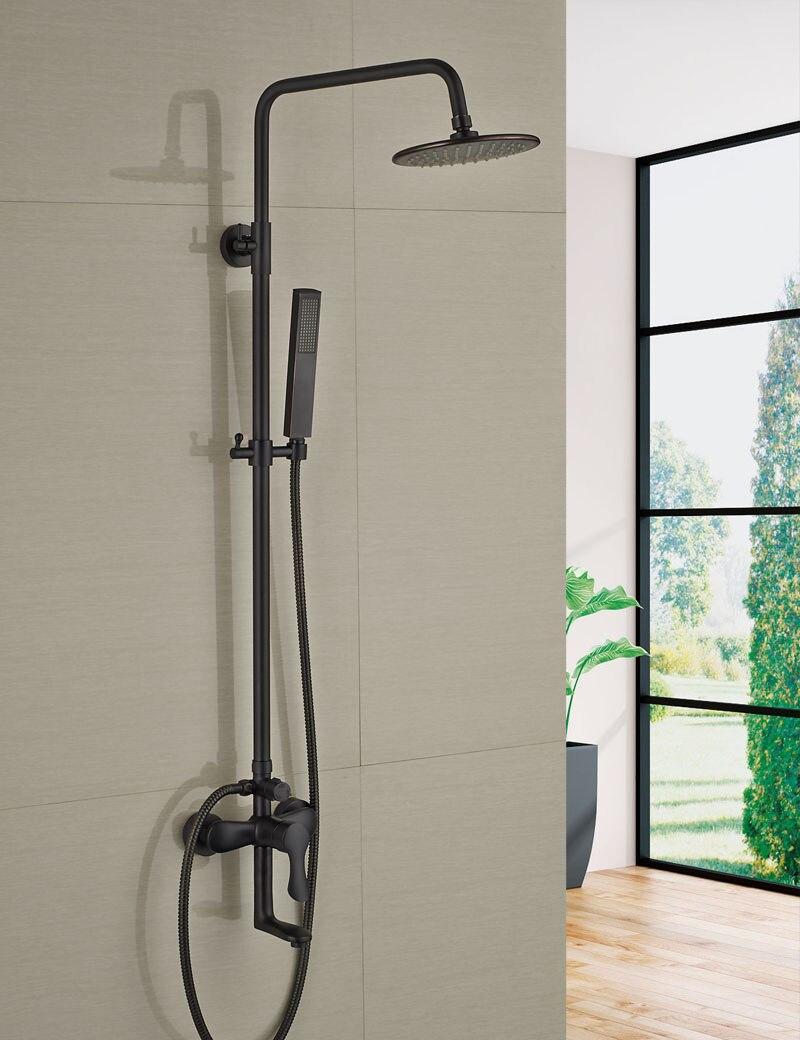 Wholesale And Retail Modern Oil Rubbed Bronze 8 Round Rain Shower Faucet Set Single Handle Tub Spout Mixer Tap W/ Hand Shower