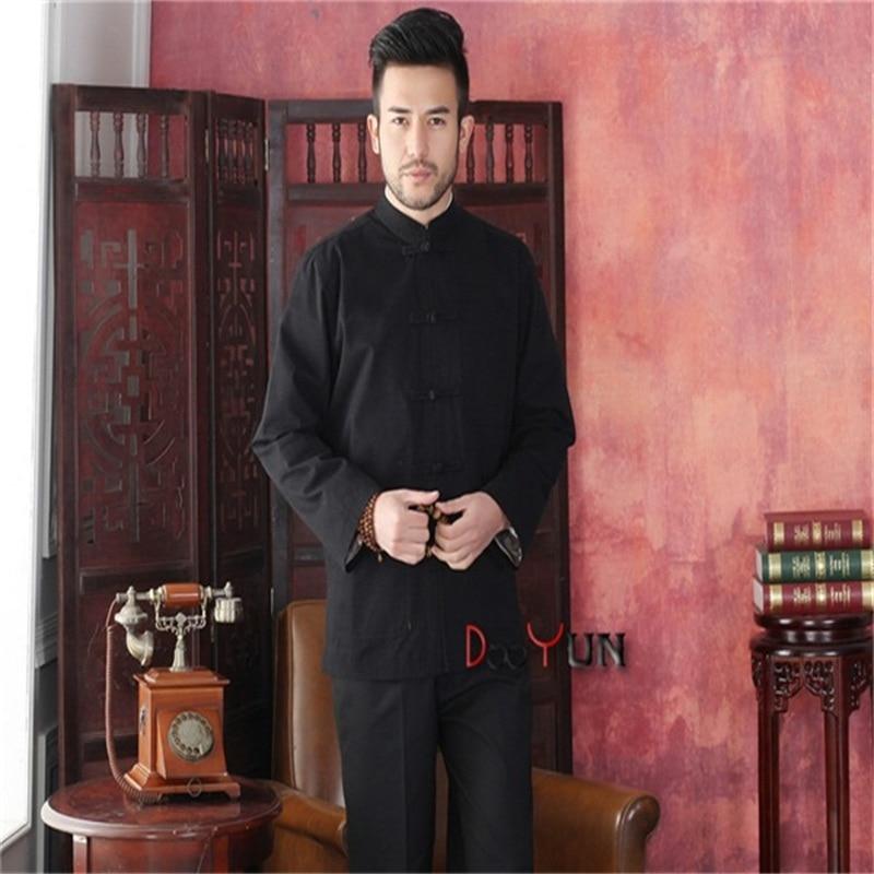 Livraison gratuite nouveauté noir hommes Tang costume classique Style chinois haut caché Dragon veste bouton manteau S M L XL XXL XXXL