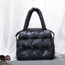 2020 novo inverno único ombro tote mulher espaço almofada de algodão pena para baixo saco balde bolsa a principal bolsa feminina
