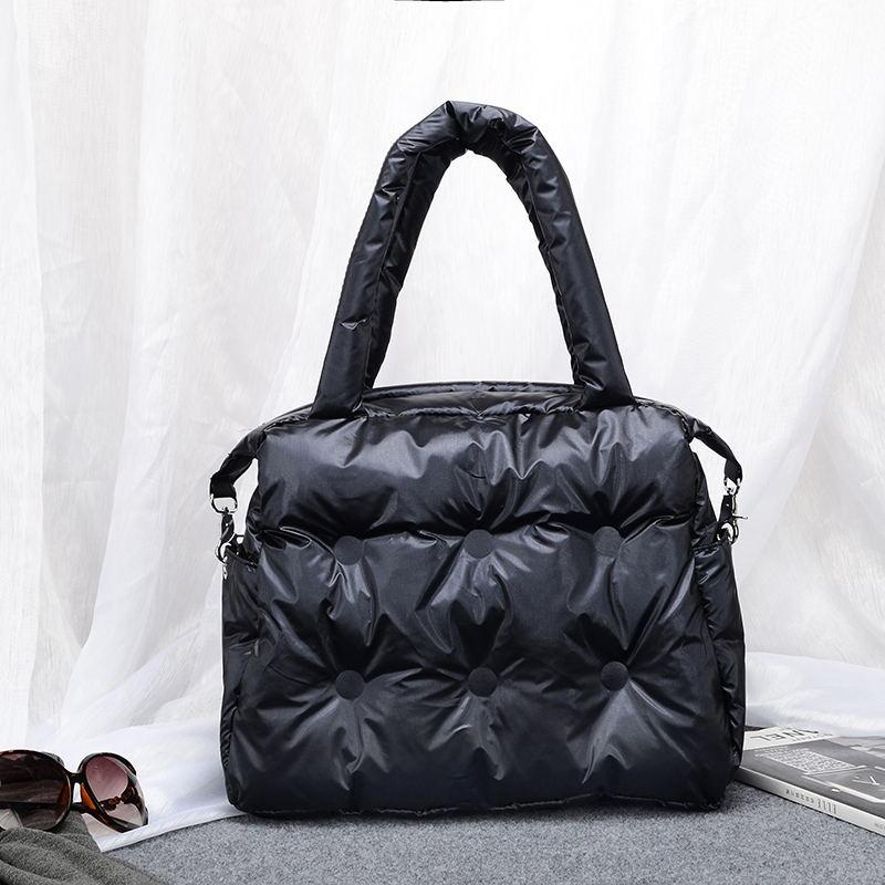 Image 2 - Winter new Women Space Pad Cotton Feather Down Bag Bucket Handbag  nylon Shoulder Tote sac a main carteira Bolsa Feminina